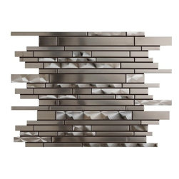 Premier Worldwide - Stainless Steel 11.75X14 Interlocking Mosaic - Stainless Steel 11.75x14 Interlocking Mosaic has blend of brushed and irridescent Stainless Steel finish. The unique staggered pattern results in a stunning modern effect .This tile is ideal for steel back splashes, accent walls, fireplaces and more. The tiles in this sheet are mounted on a nylon mesh which allows for an easy installation.