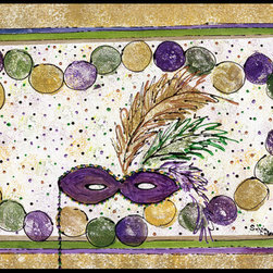 Caroline's Treasures - Mardi Gras Beads  Indoor Or Outdoor Mat 24X36 Doormat - INDOOR / OUTDOOR FLOOR MAT 24 inch by 36 inch Action Back Felt Floor Mat / Carpet / Rug that is Made and Printed in the USA. A Black binding tape is sewn around the mat for durability and to nicely frame the artwork. The mat has been permenantly dyed for moderate traffic and can be placed inside or out (only under a covered space). Durable and fade resistant. The back of the mat is rubber backed to keep the mat from slipping on a smooth floor. Wash with soap & water.