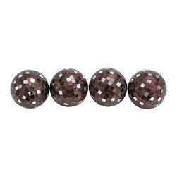 Benzara - Attractive Copper Mirror Mosaic Ball Set of 4 - Attractive Copper Mirror Mosaic Ball Set of 4. Bring the party to your home with these attractive mirror mosaic balls. Each mosaic ball comes in dimensions of 9x4x9 each. Some assembly may be required.