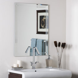 Decor Wonderland Mirrors - Decor Wonderland Frameless Tri-bevel Wall Mirror - Strike a pose in front of this stylish and super modern frameless wall mirror. Perfect mirror for your hallway, living room or bathroom. This frameless mirror has a unique design with v-grooved cut and tri beveled designs.