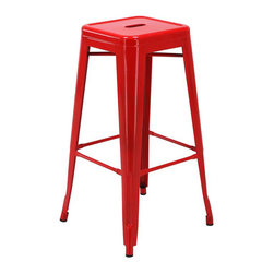 "Office Star - Office Star Patterson 30"" Steel Backless Barstool in Red (Set of 2)-Set of 4 - Office Star - Bar Stools - PTR3030A49 - Simple elegant chair featuring powder coated steel frame and clean modern design. Always ready to serve you with style these chairs are designed to add elegance to your life. Backless design is easy to store while metal frame is easy to maintain and clean. Elegant design with a modern touch these gorgeous Patterson Metal Chairs come fully assembled for your convenience."