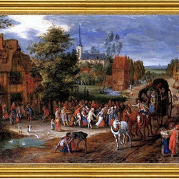 """Pieter Gysels-16""""x24"""" Framed Canvas - 16"""" x 24"""" Pieter Gysels A village kermesse with a horse-drawn cart in the foreground framed premium canvas print reproduced to meet museum quality standards. Our museum quality canvas prints are produced using high-precision print technology for a more accurate reproduction printed on high quality canvas with fade-resistant, archival inks. Our progressive business model allows us to offer works of art to you at the best wholesale pricing, significantly less than art gallery prices, affordable to all. This artwork is hand stretched onto wooden stretcher bars, then mounted into our 3"""" wide gold finish frame with black panel by one of our expert framers. Our framed canvas print comes with hardware, ready to hang on your wall.  We present a comprehensive collection of exceptional canvas art reproductions by Pieter Gysels."""