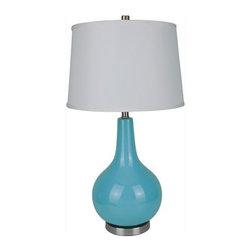 ORE International - 28 in. Hand Fired Ceramic Table Lamp - Requires 1 150W bulb (bulb not included). 3-Way socket. Hand fired . Drum shaped shade. Silver accent. Made from ceramic . White linen shade. 16 in. L x 16 in. W x 28 in. H (10 lbs.)It has a great contemporary look. Ideal for bedside tables, buffets and side tables. Sculptural and artistic with a retro inspired color palette, this stylish table lamp will be a refreshing addition to a bedside table, dining room buffet or sitting room.