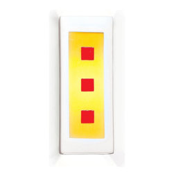 "A19 Lighting - Alladin White, Yellow and Red Modern Wall Sconce - Simple, Bold And Eye-Catching. Crisp Yellow Frames Three Distinctive Red Squares, Fusing Into A Modern Masterpiece. Designed With An Open Top And Bottom To Provide Ambient Up And Down Light Effects.Height:11Width:4.25Depth:4Mounting Center:5.5Bulb Type:100 Watt Medium Base A19 E26 BaseNumber Of Bulbs:1American-Made Paintable Ceramic Wall Sconce.Resistant To Rust And Corrosion.The Glass Has Been Tack Fused Adding Unique Dimension And Character To The Piece.The Ceramic Portion Of The Fixture Includes A Durable Satin White Acrylic Finish.Ada Compliant (Americans With Disabilities Act 4"" Regulation For Public Walks And Corridors)Due To The Handmade Nature Of A19 Products, It Is Not Unreasonable To Expect Slight Differences From Item To Item."