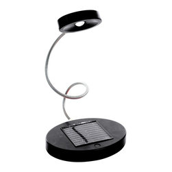 Trademark Home Collection - Solar-Powered Flex LED Desk Lamp, Black - One Watt LED Bulb. Flexible Goose-neck that Rotate s Vertically and Horizontally. Weighted Base for Stability. Removable Solar Panel. No Batteries Required. 8 in. L x 7 in. W x 15.5 in. H (2 lbs.)Introducing the Trademark Home Solar Flex LED Desk Lamp. Perfect for the Energy saver in your home. Just set on your desk and let the sun take care of the rest. The flexible goose-neck allows for allows for easy mobility. Removable Solar panel allows you to place the panel anywhere in your house without having to move the desk lamp.