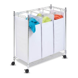 Urban Triple Sorter- Chrome Rolling - Honey-Can-Do SRT-01157 Chrome Rolling Urban Triple Sorter, White/Chrome. An organizer's dream for any laundry area, this rolling laundry sorter is the perfect tool for quick sorting and washing. The unit has three, full-size sorting bags, which can be easily removed for washing. The sturdy sorter is made from a chrome-finished, steel frame and goes from room to room on smooth rolling swivel casters, which lock in place. This unit incorporates a steel wire bottom shelf to support even the heaviest loads of laundry.