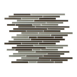 """Rocky Point Tile - 4"""" x 6"""" Sample - Santa Rosa Fine Lines Random Strip Glass Mosaic Tiles - Add a bit of cinnamon, spice and all things nice to your kitchen with strip glass tiles that bring a dash of flavor to your backsplash. A mix of browns, beige and taupe creates a warm neutral mosaic that complements a wide variety of wood cabinetry and countertops and also pairs beautifully with natural stone surfaces."""