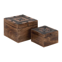 """Wood Metal Box with Cube-Shaped Design - A beautiful combination of style and elegance, the Wood Metal Box S/2 8"""", 6""""W set of two is designed to adorn different decor settings. These elegant wood metal boxes are sure to make a wonderful addition to coffee tables or book shelves with its natural wood construction. Featuring a simple cube-shaped design with a hinged opening, these wood metal boxes will enhance the decor of your room. Sleek, neat lines dominate the construction of these wood boxes, which lend subtle sophistication to the natural-wood finished decor pieces. Metal detailing along the lid of these boxes lend an old-world appeal to the design. The lid of these boxes is detailed with dark finished metal stripes ornately styled rivets that impart a look of oriental charm to the design aesthetics. Designed from high quality wood and metal, this set of boxes is sturdy and durable. It is sure to last for years to come.. It comes with following dimensions"""