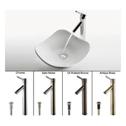 Kraus - Kraus White Tulip Ceramic Sink and Sheven Faucet Satin Nickel - *Add a touch of elegance to your bathroom with a ceramic sink combo from Kraus