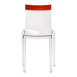 Kartell - Hi Cut Chair by Kartell - The Kartell Hi Cut Chair designed by Philippe Starck, offers a perfectly ergonomic seat combining elasticity and solidity. The iridescent vertical lines in the structure of the top customizes the chair and creates a seductive play of light and glints. The veritable rainbow of colours of the top and the possible combinations-18 in all- give the chair an art deco air and make it extremely eclectic and precious, adding a touch of personality and originality to its surroundings. The Hi Cut Chair is available in three different versions: transparent, black and White to be teamed with a range of fluorescent shades: purple, red, yellow, green and orange plus the more classic transparent and smoke grey tones. The design of the structure of the chair, moulded in a single piece, is based on contrasting curves and angles: the front legs and front part of the seat arre squared, while the rear legs and back have a softer, rounded form, which reverts to the angular design in the upper backrest. Founded in 1949 by Giulio and Anna Castelli, Kartell has become the world leader—and innovator—in the realm of molded plastic furniture. Headquartered in Italy, Kartell works with designers worldwide to create their distinctive line of modern furniture, lighting and accessories. Dedication to discovering and employing new technologies and manufacturing methods results in a growing line of durable, stylish and cutting edge products.