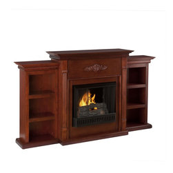 """Holly & Martin - Holly & Martin Gel Fireplace w/ Bookcases-Mahogany X-02-9-130-401-73 - For the person who loves to curl up with a good book by the fire, this classic mahogany gel fuel fireplace accommodates perfectly. On each side there is a bookshelf to display your favorite classic books. The mantel itself is adorned with tall slender fluted columns on either side of the firebox, traditional crown molding, and a symmetrical medallion appliqu&#233:. Portability and ease of assembly are just two of the reasons why our fireplace mantels are perfect for your home. Requiring no electrician or contractor for installation allows instant remodeling without the usual mess or expense. In addition to your living room or bedroom, try moving this fireplace to your dining room for romantic dinners or complement your media room with a ventless fireplace below your flat screen television.* Use this great functional fireplace to make your home a more welcoming environment. Please note: Our photos are as accurate as possible, but color discrepancies may occur between the product and your monitor. The handcrafted touch of artisan skill also creates variations in color, size and design: slight differences should be expected. - 70.25"""" W x 14"""" D x 42.25"""" H - Bookshelves: 13.25"""" W x 10.75"""" D x 39.5"""" H (each) - Six shelves: 10"""" W x 8.5"""" D x 10"""" H (each) - Six fixed shelves - Classic mahogany finish - Beautiful media room accent - Mantel supports up to 85 lb. - Accommodates a flat panel TV up to 68.25"""" W overall (base up to 40"""" W overall) - Constructed of poplar, MDF, particle board, basswood veneer, and polyresin applique - Assembly required - None of the mess of a wood burning fireplace - FireGlo Gel Fuel snaps and crackles like real burning wood (fuel not included) - Emits no smoke, odor, or ash - Holds up to 3 cans of gel fuel simultaneously for a full bodied 6-8"""" flame - Each can of FireGlo produces up to 3000 BTU - Supplements heat to save on energy consumption - Includes firebox, """