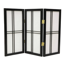 Oriental Unlimited - 2 ft. Tall Desktop Shoji Screen (3 Panels / Black) - Finish: 3 Panels / BlackThe classic shoji screen comes to your desktop! It features the same beautiful crafting as larger models with double cross insets and durable rice paper panels. Two-way hinges provide double angling. Use it for decoration on countertops and on windowsills, too. Screens may vary slightly in color. An attractive Zen influenced design. Ideal for use anywhere such as desktop, unsightly areas or even as modified window treatments. Crafted from durable, lightweight Scandinavian spruce. Crafted using Asian style mortise and tenon joinery. Fold slightly to stand upright. Shade is strong. Fiber reinforced pressed pulp rice paper allows diffused light. Provides complete privacy. Lacquered brass, 2-way hinges mean you can bend the panels in either direction. Black finish. Assembly required. Each panel: 12.5 in W x .75 in. D x 24 in. H