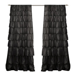 "Lush Decor - Ruffle Black Window Curtain - Includes: 1 Panel. Color: Black. Panel: 50""W x 84""H. No lining. 3"" Rod Pocket. Machine Wash. . Fabric Content: 100% PolyesterTurn any room from ordinary to incredibly special when you add our Ruffle Window curtains. Beautifully flowing layers of brushed poly with hand constructed ruffle details. So feminine, so pretty and so flexible. they work anywhere in your home."