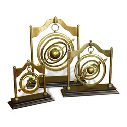 Interlude Home - Royce Armillaries, Set of 3 - If you're fascinated by all things celestial, you'll love this set of armillaries, one of the most ancient of astronomical instruments. This set has an antique brass finish perfect for gazing.