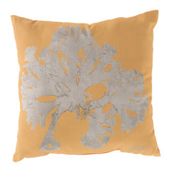 """Surya - Coral Square Decorative Pillow RG-056 - 20"""" x 20"""" - Enjoy a tranquil reminder of the beach in your space with this cool coral pillow. Featuring a bold beige coral design splashed pristinely against a exquisite yellow backdrop, this piece is sure to spice up your space. This pillow contains a Virgin Poly Styrene Bead fill providing a reliable and affordable solution to updating your indoor or outdoor decor."""
