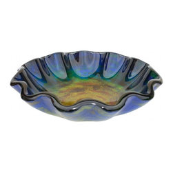 "Eden Bath - Wave Rim Multi Color Glass Vessel Sink - Material: Double Layer Tempered Glass; Color: Muli Color - Yellow, Orange, Green, Blue; Dimensions: 18"" Diameter X 5.25""H; Thickness: 0.75""; Drain Hole: 1.75"" - No Overflow; Weight: 15 lbs; Installation: Top Mount; Not Included: Mounting Ring, Pop Up Drain & Faucet."