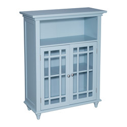 None - Richland Floor Cabinet with Two Doors - The Richland floor Cabinet in Eaton blue finish offers sleek lines for a modern look. This cabinet features two glass doors accented with grid-work design and beveled molding.
