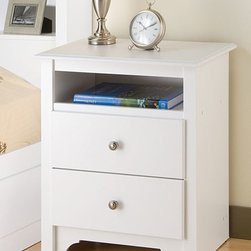 None - Winslow White 2-drawer & Open Cubbie Nightstand - Perfect for holding a lamp and alarm clock, this white two-drawer nightstand makes a great addition to a bedroom. The neutral white finish and pewter knobs blend well with most decors, and you can conveniently store needed items inside the drawers.