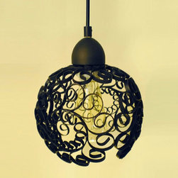 Iron Scroll Pendant Lamp - Upcycled iron bowls, discovered in Upstate NY.