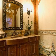Farmhouse Powder Room by Maraya Interior Design