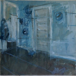 """Tom Hamilton, 1951 - 2011, 'Blue Interiors' Series (63) - 'Blue Interior' Series; signed watercolor on paper; 21""""w. X 21""""h."""