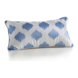 Carson Pillow - Rich embroidery in beautiful blue adds sophistication to this contemporary ikat.