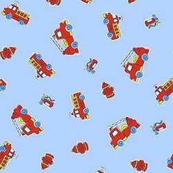 """SheetWorld - SheetWorld Fitted Sheet (Fits BabyBjorn Travel Crib Light) - Fire Engines Blue - This luxurious 100% cotton """"woven"""" travel crib light (fits babybjorn) sheet features a fire engine print. Our sheets are made of the highest quality fabric that's measured at a 280 tc. That means these sheets are soft and durable. Sheets are made with deep pockets and are elasticized around the entire edge which prevents it from slipping off the mattress, thereby keeping your baby safe. These sheets are so durable that they will last all through your baby's growing years. We're called sheetworld because we produce the highest grade sheets on the market today. Size: 24 x 42. Not a Babybjorn product. Sheet is sized to fit the Babybjorn crib. Babybjorn is a registered trademark of Babybjorn AB."""