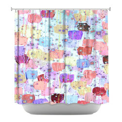 DiaNoche Designs - Shower Curtain Artistic - Speckle Me Dotty in Pastels - DiaNoche Designs works with artists from around the world to bring unique, artistic products to decorate all aspects of your home.  Our designer Shower Curtains will be the talk of every guest to visit your bathroom!  Our Shower Curtains have Sewn reinforced holes for curtain rings, Shower Curtain Rings Not Included.  Dye Sublimation printing adheres the ink to the material for long life and durability. Machine Wash upon arrival for maximum softness. Made in USA.  Shower Curtain Rings Not Included.
