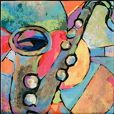 """Tile Art Gallery - Music III Ceramic Accent TIle, 6 in - This is a beautiful sublimation printed ceramic tile entitled """"Music III"""" by artist Shirley Novak. The printed tile displays a Clarinet and a colorful abstract background. Pricing starts at just $14.95 for a 4.25 inch tile."""