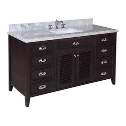 Kitchen Bath Collection - Savannah 60-in Single Sink Bath Vanity (Carrara/Chocolate) - This bathroom vanity set by Kitchen Bath Collection includes a chocolate colored cabinet with self-closing doors and soft-close drawers, stunning Carrara marble countertop with double-thick beveled edges,undermount ceramic sink, pop-up drain, and P-trap. Order now and we will include the pictured three-hole faucet and a matching backsplash as a free gift! All vanities come fully assembled by the manufacturer, with countertop & sink pre-installed.
