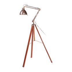 Four Hands - Wooden Leg Floor Lamp - Take your lighting to the next level. On top of a wood base reminiscent of a surveyor's tripod, the metal lamp features antique brass accents with a fully adjustable head. Drop it to read or raise it to highlight your favorite painting and add a measure of warmth and style to your room.