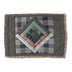 Patch Magic - Green Log Cabin Place Mat - 13 in. W x 19 in. L. 100% Cotton. Handmade, hand quilted. Machine washable. Line or flat dry only