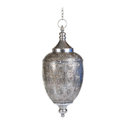 "Concepts Life - Concepts Life Candle Holder  Luminous Lace Hanging Lantern   Silver, Large - Whether you are preparing for a special occasion or simply want to make a strong statement in your home, our Luminous Lace collection will instantly infuse elegance into your space. Our silver lanterns have ornate details on the surface and beautiful perforated patterns that will let the light from within add warmth and sparkle to any occasion. Reminiscent of marrocan hanging lanterns, this intricate piece adds a modern brilliance to a classical feel. Complete with a glass cup within, hanging chain with s hook, and carefully hand welded pieces. Scent and light will eminante from its intricate carvings making this exemplary piece an absolute conversation starter. This is the touch of romance your room has been waiting for. A hanging silver lantern, with intricate detailing and perforated patterns that allow the flickering candle light to add warmth to your bedroom, living room, or a covered porch. Total length when hung is 44 inches.  Hanging candle holder Welded from 100% iron Opens via clasp and hinge Includes glass cup for a votive or tealight candle Complete with hanging chain and S hook Beautifully hand-crafted; will have unique bends and asymmetries Dimensions: 11""w x 24""h x 11""d Weight: 3 lbs Available in smaller size"