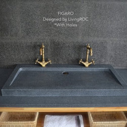 "GRANITE TROUGH BATHROOM SINK 39""x19"" IN TRENDY GRAY NATURAL STONE - FIGARO - Natural stone vessel sink or wall mounted FIGARO 39""x20""x2"" - genuine interior decoration trendy gray granite. The ""Exceptional"" cut in the block without any comparison with plastic and other chemical resin market often unaffordable. You will definitely not let anyone feel indifferent with this 100% natural stone unique in the US and exclusively available on Living'ROC.net."