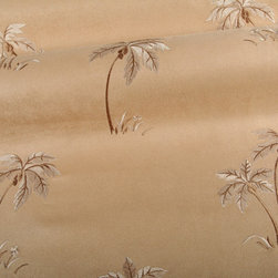 Balmy Upholstery Fabric in Tan - Balmy Upholstery Fabric in Tan: A Faux-Suede, palm tree embroidered fabric perfect for a tropical style interior design. Great for upholstering seats or sofa. Made in the USA with 100% Polyester and a width of 54″. Cleaning Code S. Passes 30,000 double rubs on the Wyzenbeek Method abrasion test. Repeat: 13.5″ X 23.5″.