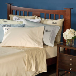 Premier - Luxury 1000 Thread Count Cotton Blend Sheet Set with Bonus Pillowcases - Enhance your bedroom with this luxurious 1000 thread count extra-deep sheet set. This wrinkle-resistant sheet set is easy to care for and arrives with one flat sheet one fitted sheet and four pillowcases.