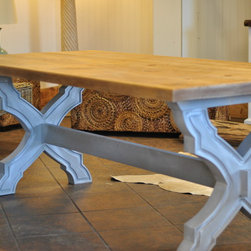 "7' ""Sarasota"" Reclaimed Cypress Dining Table - This 7' ""Sarasota"" dining table features a  reclaimed cypress table top and a grey with white wash (Saltaire) finish. This top has been planed throughout he distressed layer to expose the natural color underneath. We can build this table any size and color you need. Contact us for further details."