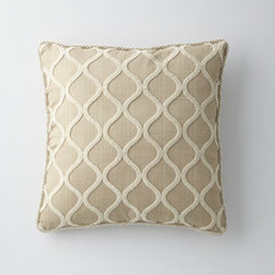 "Isabella Collection by Kathy Fielder - Isabella Collection by Kathy Fielder Cream Ogee Pillow, 22""Sq. - Gorgeous bed linens in soothing hues turn the bedroom into a island of tranquility. From Isabella Collection by Kathy Fielder. Marbleized jacquard duvet covers of rayon/polyester have polyester backing in a shantung weave. Ogee pillows, polyester/cott..."