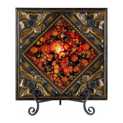 Cal Lighting - 25W Lighted Charger Plate w Diamond Reversed - Requires 25W bulb (not included). Lighted charger plate with reversed painted glass. Antique Bronze finish. Height: 17.5 in.. Base: 16 in.
