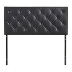 Modway - Theodore Queen Headboard MOD-5129 Black - The versatility of this element of decor emphasizes its importance. As the headboard functions as the centerpiece of your bedroom, Theodore's deep button tufting makes sure to convey a classic style that can?t be dressed down. Fully upholstered in padded faux leather, the Theodore headboard imbues a strong sense of style, while presenting a modern piece full of boxy lines that accessorize with many looks.