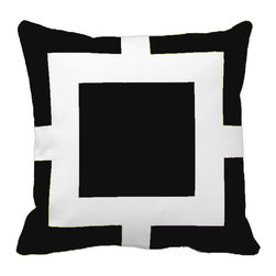 Tomova Jai Designs - Square Biz Color Blast Decorative Pillow, Black - Square Biz Color Blast Pillow.