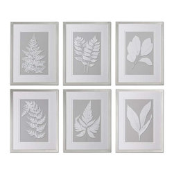 Uttermost - Uttermost Moonlight Ferns Framed Art, Set of 6 - 41394 - -Uttermost's floral art combines premium quality materials with unique high-style design.