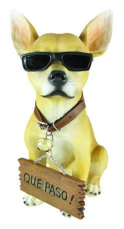 Cool Chillin`` Chihuahua Dog Welcome Statue - This incredibly cute Chihuahua dog lawn / garden statue can give visitors a polite `Bienvenidos` (Welcome), or a much more laid back `Que Paso` (What`s happening!). The figure measures 12 1/2 inches tall, 6 3/4 inches wide and 9 1/2 inches deep. Made of extremely durable bonded marble resin, this figure is fade and breakage resistant. This cute Chihuahua makes a perfect gift for any dog lover.