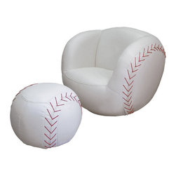ORE International - Baseball Chair & Ottoman set - Add a delightful accent for your child's room with this sport themed chair and ottoman set. It offers a perfect place for your kids to rest after a long day of school or play. Perfect for anyone who loves soccer, this cute chair and matching ottoman are crafted from sturdy yet soft material to provide a comfortable support. Your little ones will surely love relaxing in this chair when reading a book or watching games on television. With its extremely inviting design, children will slip right into the chair and will never want to sit anywhere else.