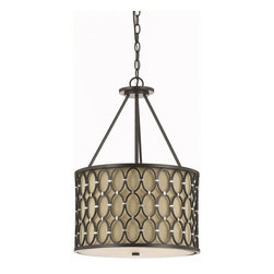 Candice Olson - Candice Olson Cosmo Transitional Pendant Light X-H3-2018 - A playful  modern design makes this pendant light by AF Lighting a wonderful choice for almost any room in your home. The oil rubbed bronze rings are handcrafted and connected by silver finished cusps. The dark linen shade creates a warm, inviting quality of ambien light.