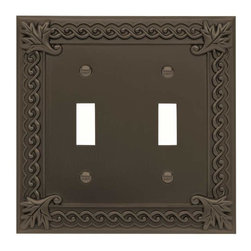 Atlas Homewares - Atlas Homewares Vdt-O Venetian Double Toggle Switch Plate, Aged Bronze - Atlas Homewares Vdt-O Venetian Double Toggle Switch Plate, Aged Bronze