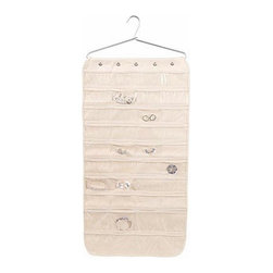 Household Essentials - 80-Pocket Canvas Jewelry Organizer, Natural - Our 80-Pocket Jewelry Organizer is transforms the way you store your jewelry.  This exceptionally large, double-sided organizer has 80, clear plastic pockets to hold necklaces, earrings, bracelets, and more.  It is made of sturdy cotton canvas and hangs in just 2 inches of closet space.  The top of the organizer is lined with snaps that fit over the aluminum hanger the organizer comes with or your own hangers, so you can keep your closet perfectly coordinated.  Look your best and keep your jewelry looking as it should at home or on the road with the help of this 80-Pocket Jewelry Organizer.