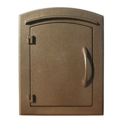 """Qualarc, Inc. - Manchester Mailbox, Plain Door, Bronze - This decorative cast aluminum mailbox insert can be matched with an optional newspaper holder or address plaque. The doors are sealed against the weather and its 22 gauge steel masonry box is electro-galvanized and powder coated to last. Faceplate Dimensions: 11"""" x 14.5"""". Masonry Can Dimensions: 16"""" x 8.5"""" x 12""""."""