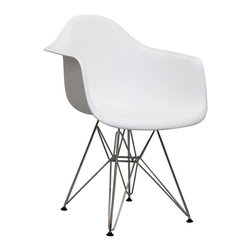 "Modway - Modway EEI-181 Paris Dining Armchair in White - Wire Paris Armchairs are crafted out of molded plastic for the seat and a chromed steel wire ""pyramid"" base.  Comfortable and versatile, this chair can be used to decorate any space."