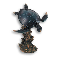 Zeckos - Swimming Sea Turtle Sculpture - Bring the depths of the ocean to your home, office or library with this handsome deep sea blue swimming turtle statue atop a thick stony coral complete with a verdigris finish. Finely detailed, this turtle is hand painted in a high gloss finish to give it a wet appearance. Lovely silvery copper accents on the nose and flippers of this deep sea diver catch glimpses of light as if it swims through sunbathed waters. This tranquil turtle sculpture stands 12 1/2 inches high, 10 inches wide and 7 inches deep. This would be a welcomed addition in any nautical or ocean themed home, and a great gift for a turtle fancier